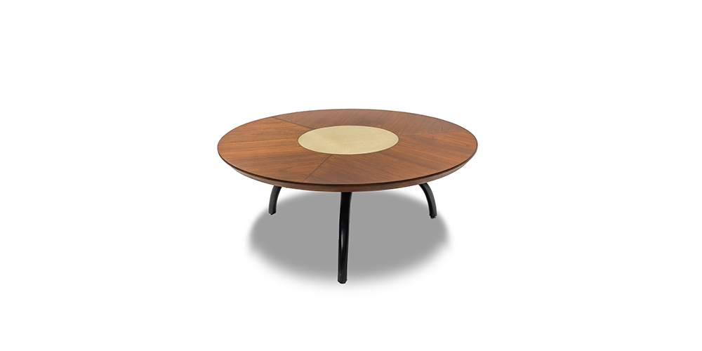 WOOD WITH BRASS CENTER TABLE