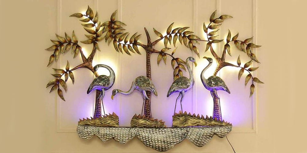 Swan-metal-multicolor-wall-art-with-LED--