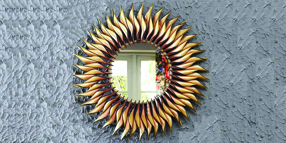 Metal-round-wall-mirror-in-yellow-colour